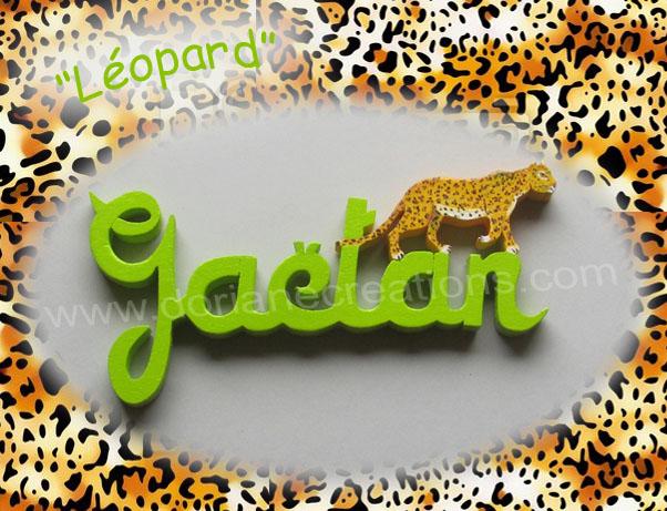 Prenom en bois leopard gaetan