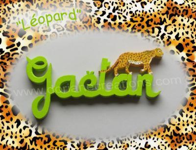06 lettres- prénom en bois léopard
