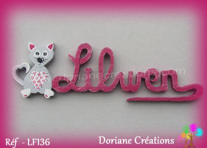 Prenom en bois lilwen chat coeurs