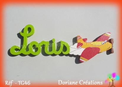 Prenom en bois loris avion