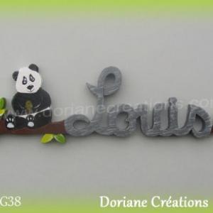 Prenom en bois louis panda 1