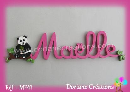 Prenom en bois maelle panda