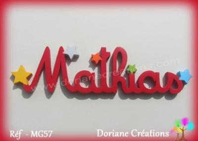 Prénom lettres en bois Mathias