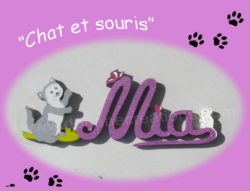 Prenom en bois mia chat et souris