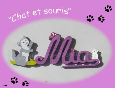 03 lettres - Prénom bois Chat et Souris