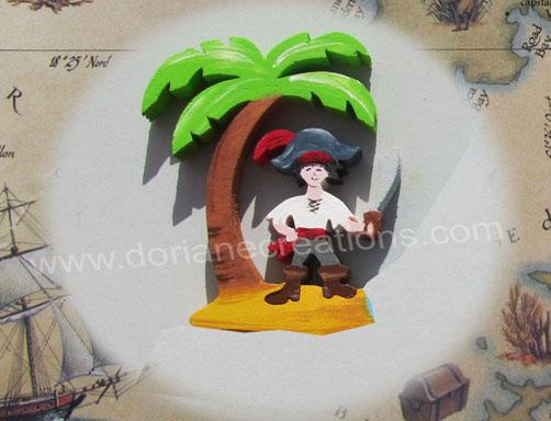 Prenom en bois motif pirate epee