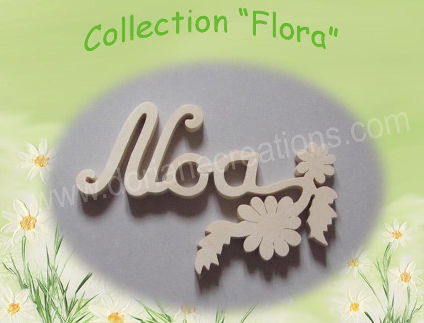 Prenom en bois naturel fleurs