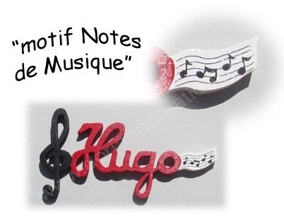 Prenom en bois notes de musique