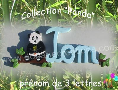 03 Lettres - Prénom en bois panda