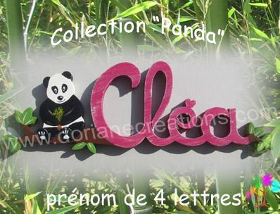 Prenom en bois panda 4 lettres