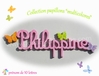 Prenom en bois papillons multicolores 10l