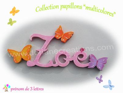 Prenom en bois papillons multicolores 3l