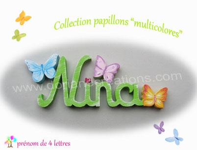 Prenom en bois papillons multicolores 4l
