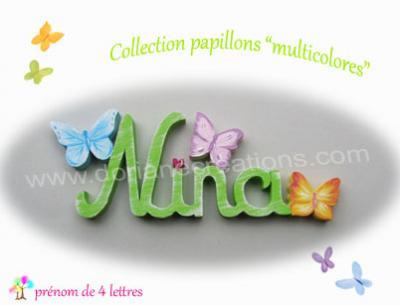 04 Lettres -prénom en bois papillons multicolores