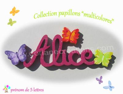 Prenom en bois papillons multicolores 5l