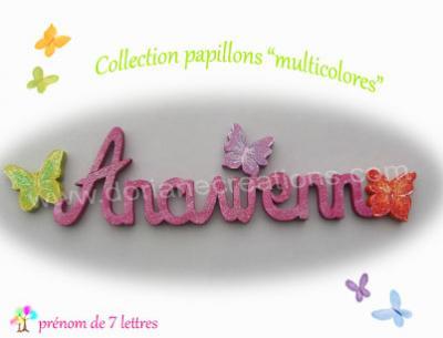 07 Lettres -prénom en bois papillons multicolores