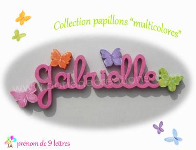 Prenom en bois papillons multicolores 9l