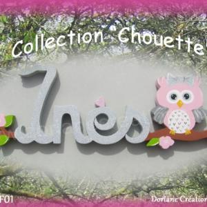 Prenom en bois peint chouette 4 lettres 1