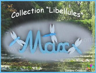 03 lettres - Prénom en bois décor libellules