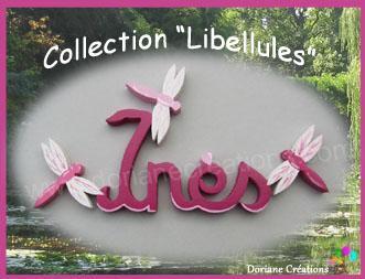 04 lettres - Prénom en bois décor libellules