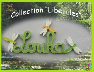 05 lettres - Prénom en bois décor libellules