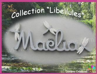 06 lettres - Prénom en bois décor libellules