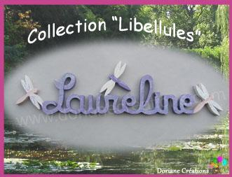 09 lettres - Prénom en bois décor libellules