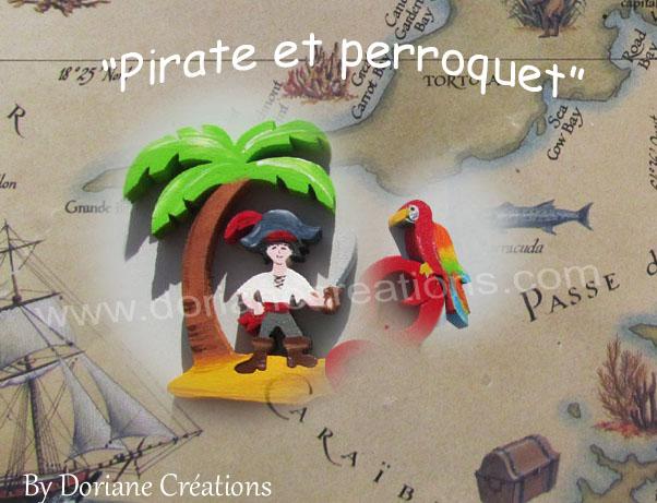 Prenom en bois pirate et perroquet 1