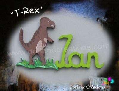 03 lettres- prénom en bois T-Rex