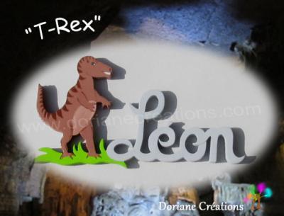 04 Lettres-Prénom en bois T-Rex