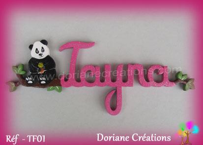 Prenom en bois tayna panda 1