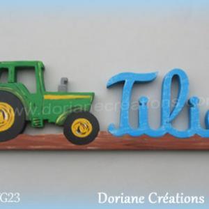 Prenom en bois tilio tracteur