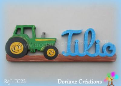 03 - Prénom lettres bois avec tracteur