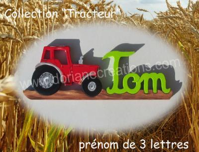 03 lettres- prénom en bois tracteur