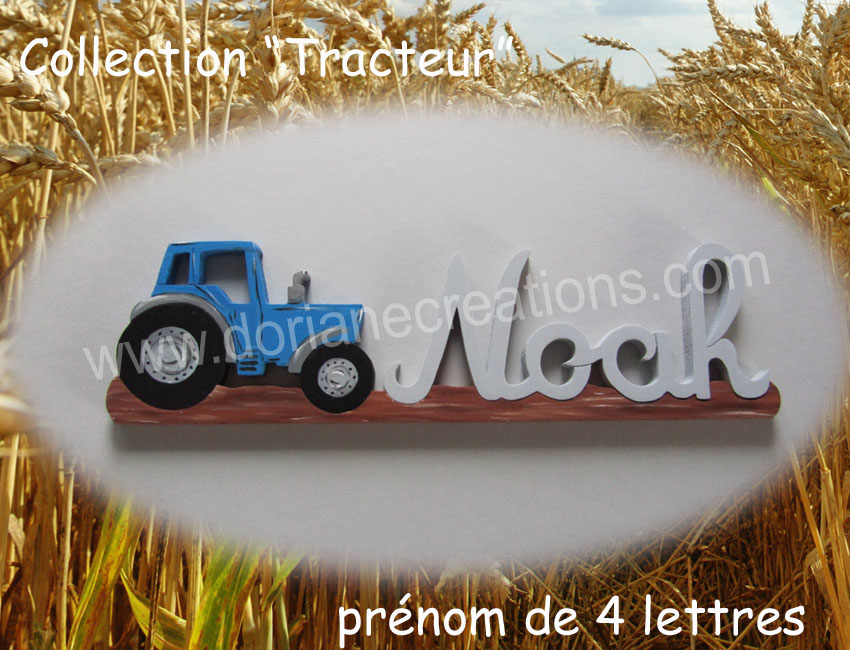 Prenom en bois tracteur 4l 1
