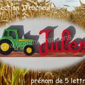 Prenom en bois tracteur 5l 1