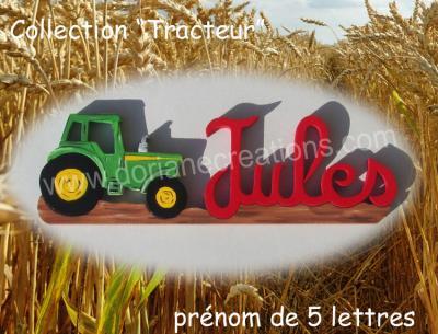 05 lettres- prénom en bois tracteur