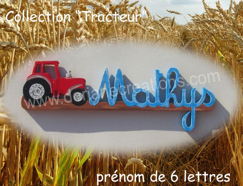 Prenom en bois tracteur 6l 1