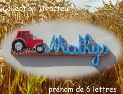 06 lettres- prénom en bois tracteur