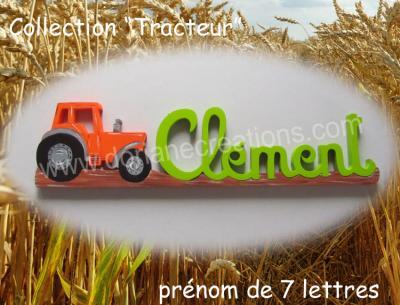 07 lettres- prénom en bois tracteur