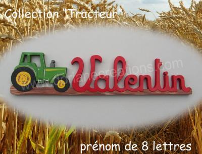 08 lettres- prénom en bois tracteur