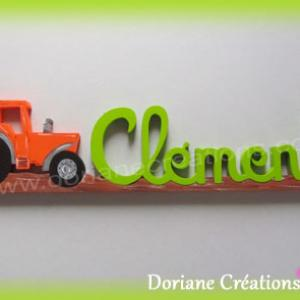 Prenom en bois tracteur clement