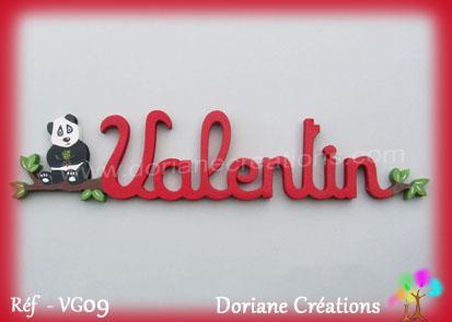 Prenom en bois valentin avec panda