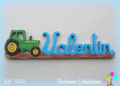 Prenom en bois valentin tracteur