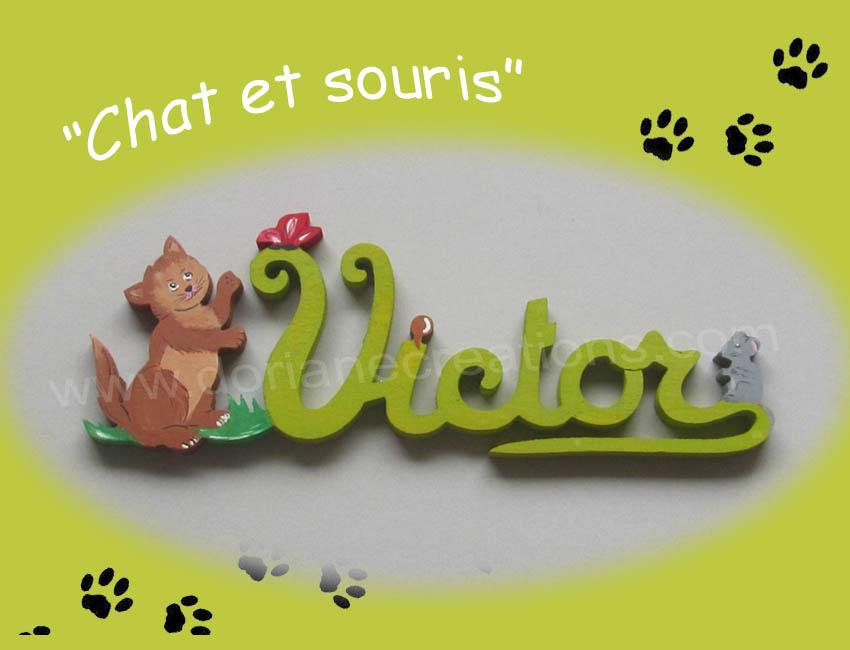 Prenom en bois victor chat et souris