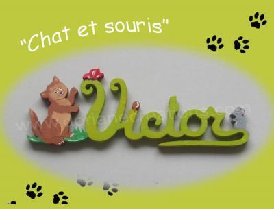 05 lettres - Prénom bois Chat et Souris