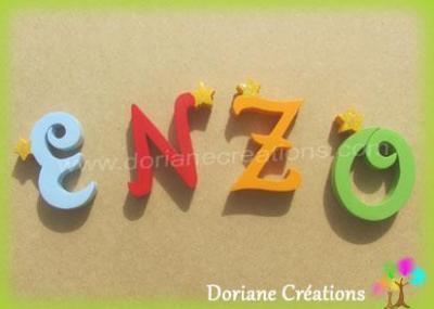 Lettres en bois étoiles ENZO