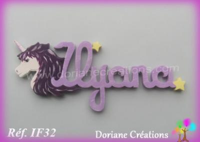 Prénom lettres en bois Ilyana