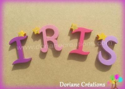 Lettres en bois étoiles IRIS