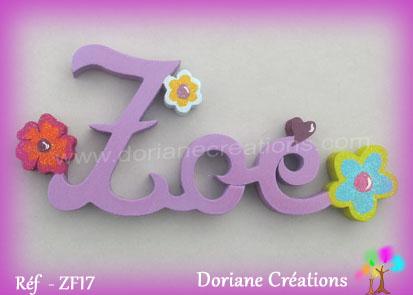 Prenom lettre bois zoe deco fleurs